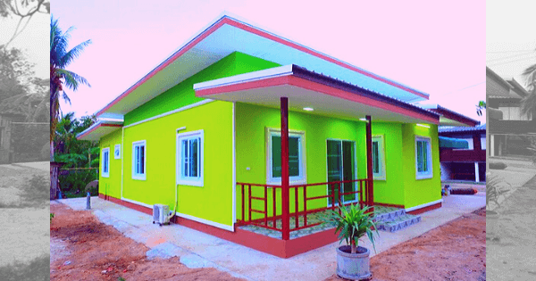Small House Exterior Design Yellow Green Painted Best House Design