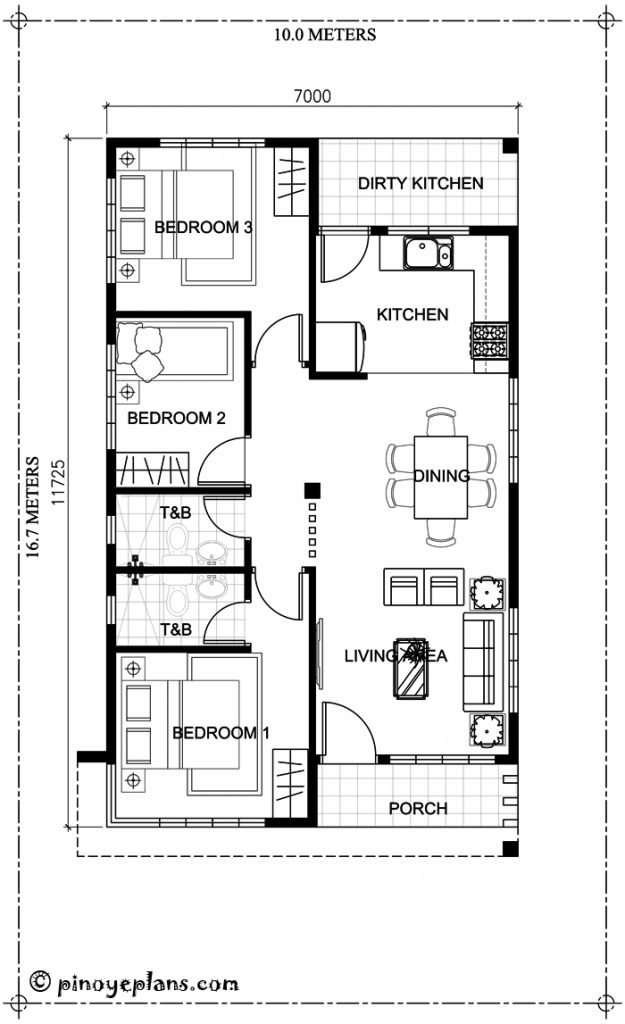 3-Bedroom Single Storey House Design 9 floor plan
