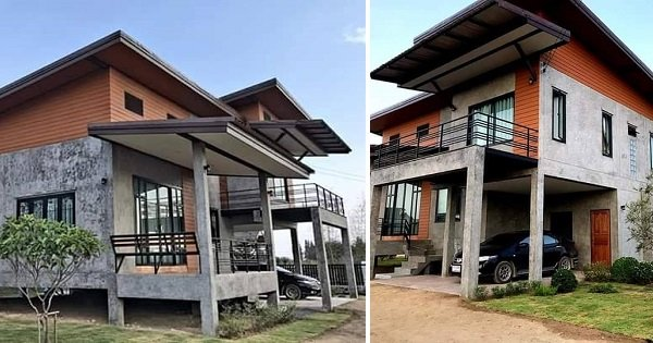 Modern 2-Story House with Carport and Porch (10 Photos)