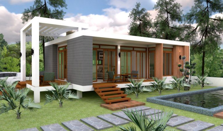 Modern Wood & Glass Design Contemporary 1-Bedroom Cottage