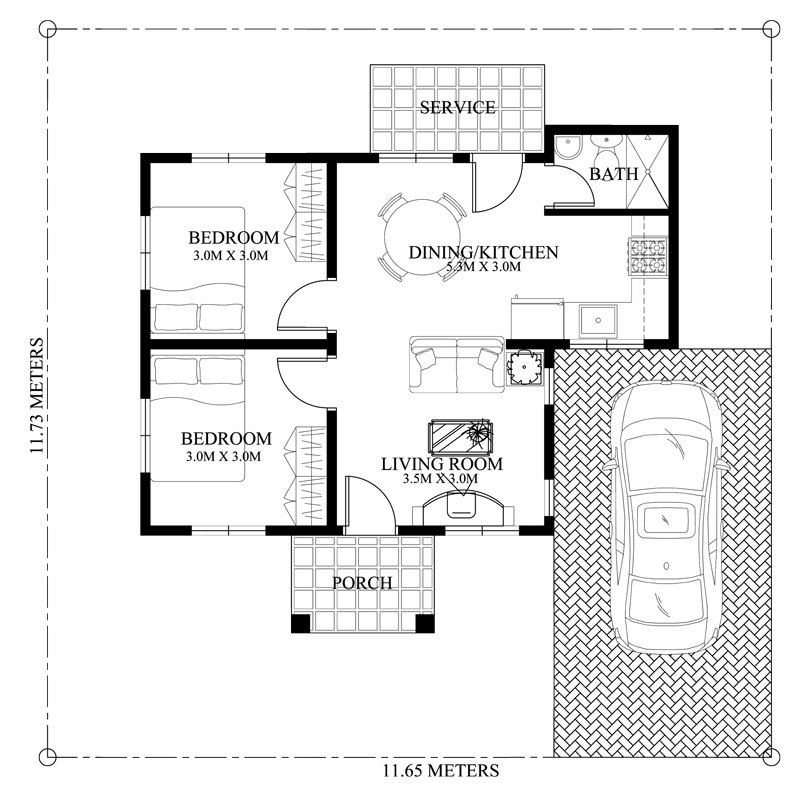House Design for One-Story House plan