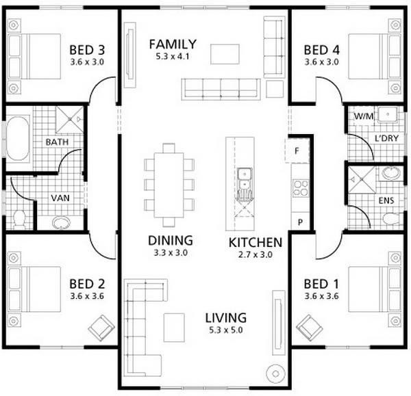 Minimalist One-Story House plan