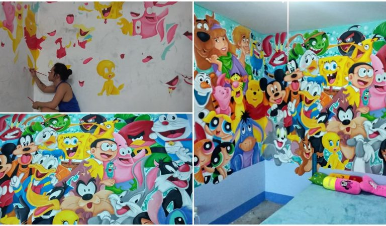 Dad Paints Colorful Cartoons in Room of Daughter with Cerebral Palsy to Make Her Happy