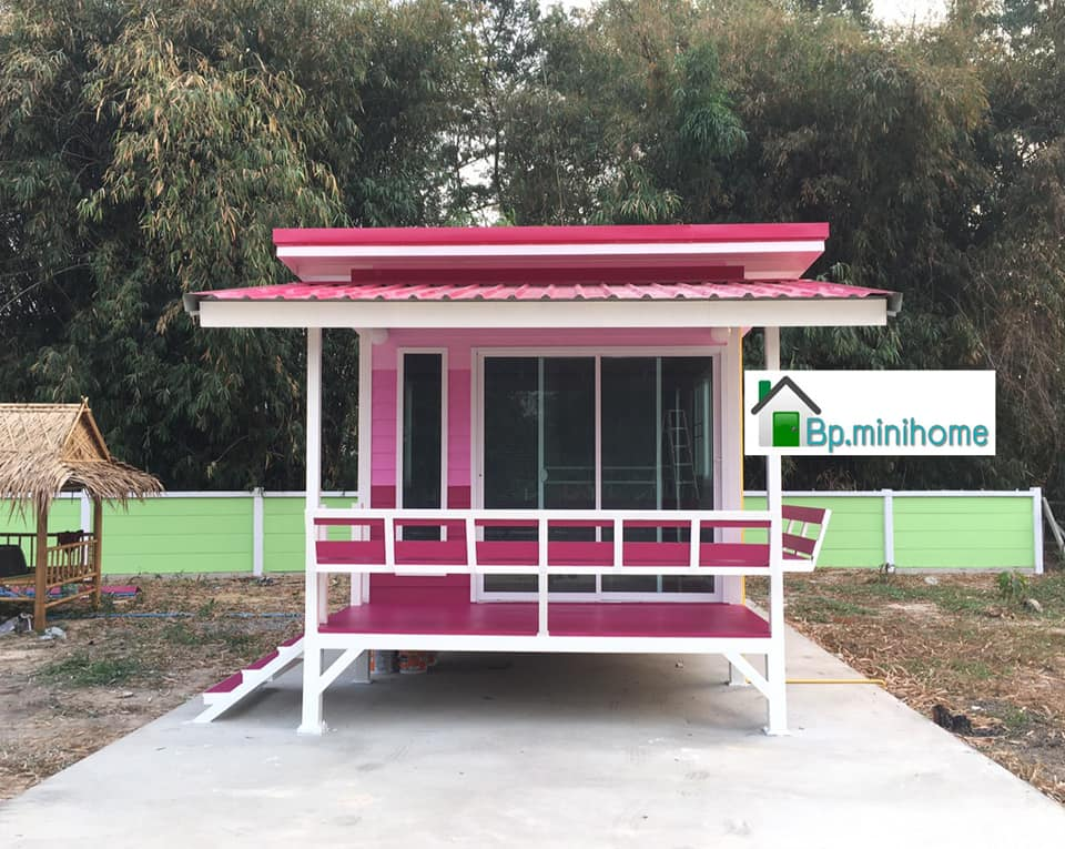 Pink Wooden Mini House front