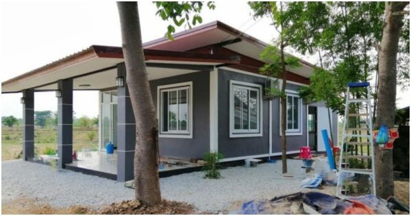 Modern Grey-White House Design with 2 Bedrooms, Affordable Build Price