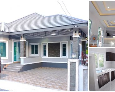 1-Story House Design with Hipped Roof & 3 Bedrooms
