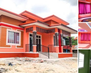 Modern House with Bright Orange Walls, 3 Bedrooms and 2 Bathrooms