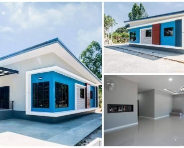 Stylish 1-Story Blue House Design with 3 Bedrooms