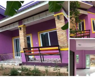 Adorable Purple House with Yellow Trim, 3 Bedrooms in 90 sqm Space