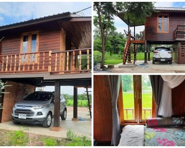 Beautiful 2-Story House Design Made of Wood, 1 Bedroom