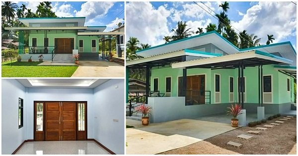 Stylish 1-story House with Green Walls with Nice Carport