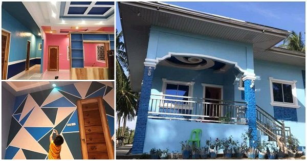 Blue House with Colorful Interiors