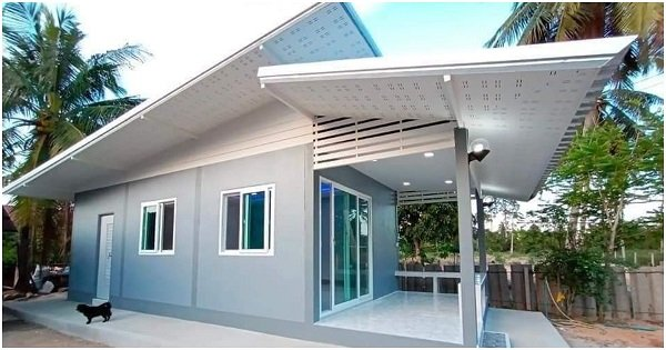 Modern Grey House with 1 Bedroom, Big Porch Area