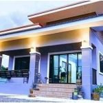Modern 1-Story Purple House Plan with 2 Stylish Bedrooms and Nice Kitchen