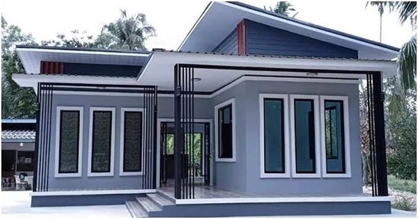 Grey House Painted with Shed Roof Design, 3 Lovely Bedrooms